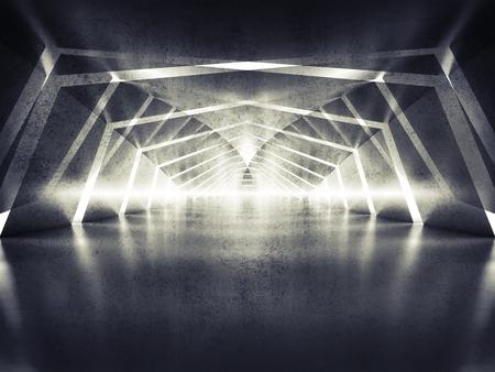 Abstract dark shining surreal tunnel interior background, 3d illustration 版權商用圖片