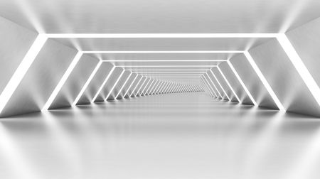 Abstract empty illuminated white shining bent corridor interior, 3d render illustration