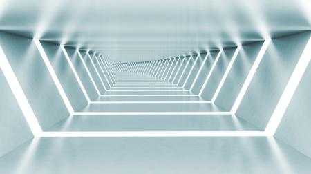interior room: Abstract empty illuminated light blue shining bent corridor interior, 3d render illustration