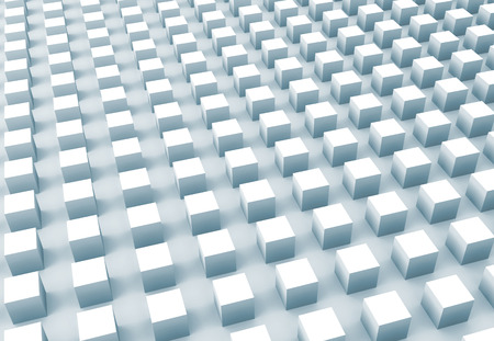 array: Abstract digital background with light blue cubes array, 3d illustration