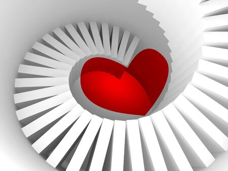 stairway: The way to the heart, 3d illustration metaphor with white spiral stairway and red heart sign
