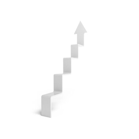 3d arrow in shape of stairway going up, object isolated on white background photo