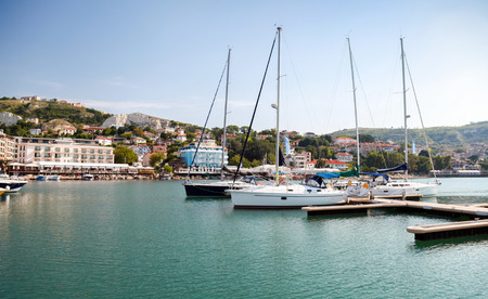 balchik: Yachts and boats are moored in marina of Balchik, Bulgaria