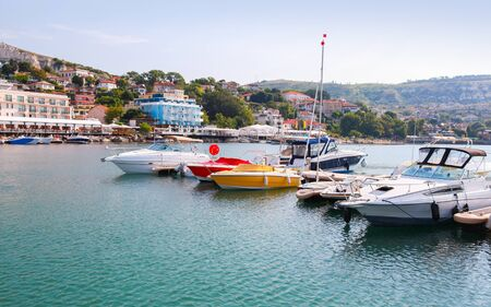 balchik: Yachts and pleasure motor boats are moored in marina of Balchik, Bulgaria
