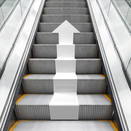 direction arrows: Shining metal escalator with white arrow moving up, perspective effect, 3d illustration combined with photo background