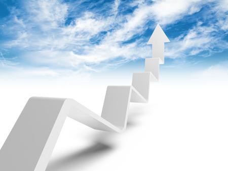 heaven: L�nea de tendencia rota con la flecha en el extremo de subir al cielo, ilustraci�n 3d con el cielo nublado foto de fondo Foto de archivo
