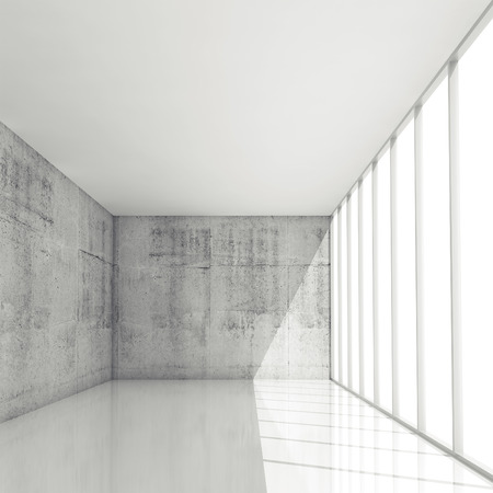 clean office: Abstract architecture background, empty white interior with windows, 3d illustration Stock Photo