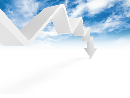 going down: Broken trend line with arrow on the end is going down, 3d illustration with cloudy sky photo background Stock Photo