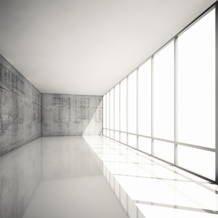 Abstract modern architecture background, empty white interior with bright windows and concrete walls, 3d illustration with retro toned filter illustration