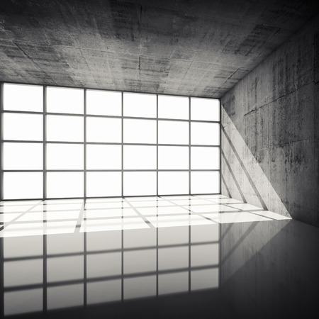 concrete: Abstract architecture background, empty concrete interior with bright windows in modern frames, 3d illustration with retro toned filter Stock Photo