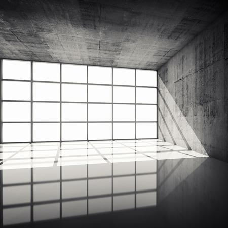 hormig�n: Fondo abstracto arquitectura, interior hormig�n vac�a con ventanas brillantes en cuadros modernos, ilustraci�n 3d con filtro retro tonos