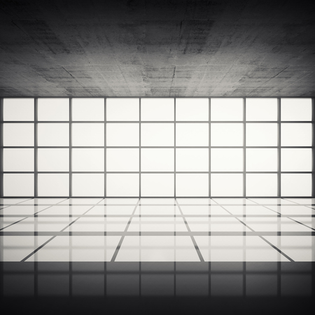 toned: Abstract architecture background, empty concrete interior with bright windows in modern frames, 3d illustration with retro toned filter Stock Photo