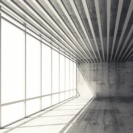 hormig�n: Fondo abstracto arquitectura, interior vac�o con las ventanas brillantes y muros de hormig�n gris, ilustraci�n 3d con filtro retro tonos