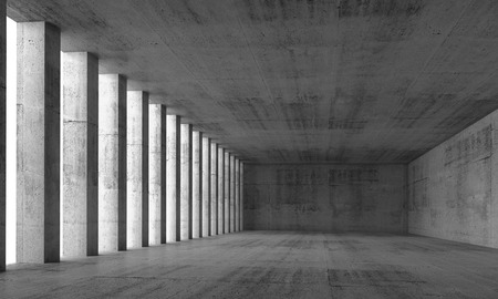 Abstract architecture background, empty interior and concrete walls and columns, 3d illustration with perspective effect