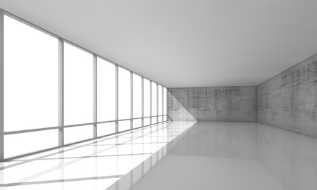 open windows: Abstract modern architecture background, empty white open space interior with windows and gray concrete walls, 3d illustration Stock Photo