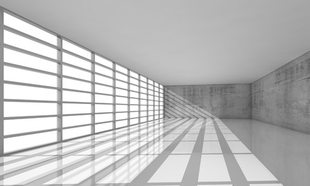open windows: Abstract modern architecture background, empty white open space interior with bright windows and gray concrete walls, 3d illustration