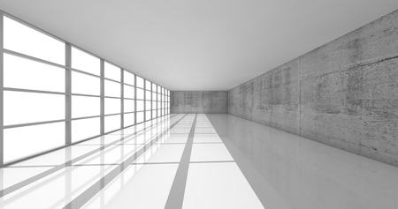 open space: Abstract architecture background, empty white open space interior with bright windows and gray concrete walls, 3d illustration Stock Photo