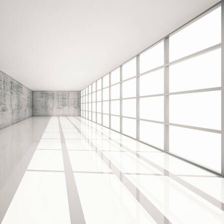 toned: Abstract architecture background, empty white interior with bright windows and concrete walls, 3d illustration with retro toned filter Stock Photo
