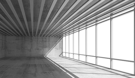 open windows: Abstract architecture background, empty open space interior with bright windows and gray concrete walls, 3d illustration