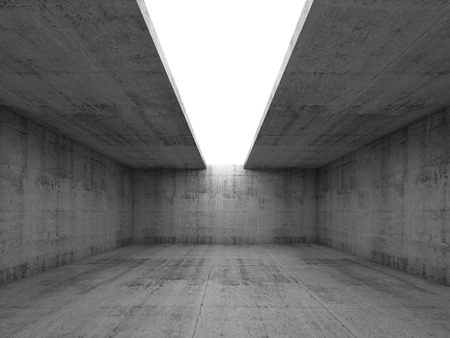 ceiling: Abstract architecture background, empty concrete room interior with white opening in ceiling, 3d illustration