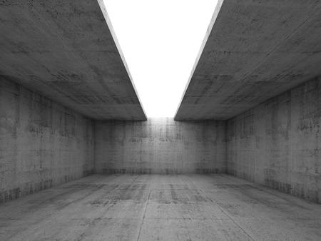Fondo abstracto arquitectura, interior vacío cuarto de concreto con una abertura en el techo blanco, ilustración 3d