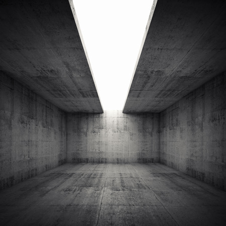 black background abstract: Abstract architecture background, empty concrete room interior with white opening in ceiling, square 3d illustration Stock Photo