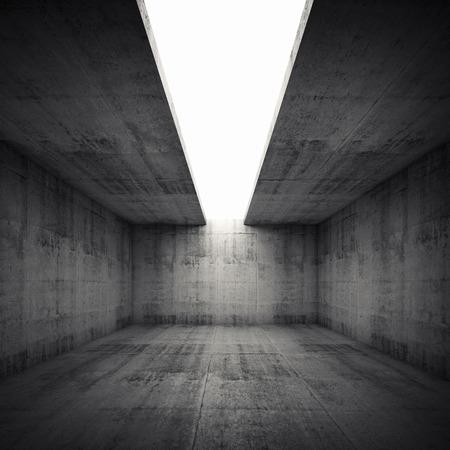 hormig�n: Fondo abstracto arquitectura, interior vac�o cuarto de concreto con una abertura en el techo blanco, cuadrado 3d ilustraci�n