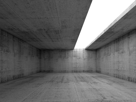 Abstract architecture background, empty concrete room interior with white asymmetric opening in ceiling, 3d illustration