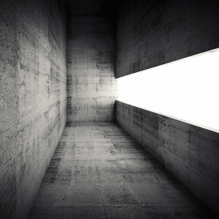 Abstract architecture background, empty dark concrete interior with white window opening, 3d illustration