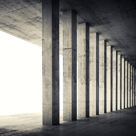 Abstract architecture background, empty interior with concrete walls and columns. Square composed 3d illustration with retro toned filter Standard-Bild