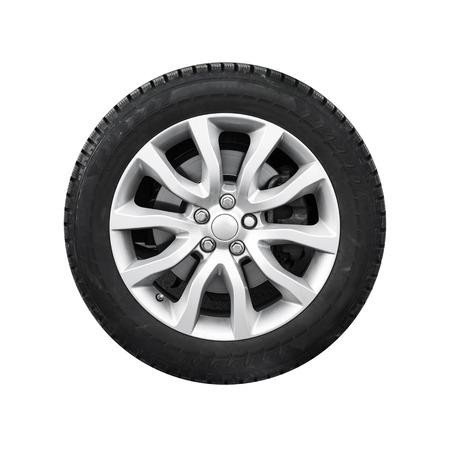 흰색 배경에 고립 된 조명 합금 디스크에 새로운 반짝이 자동차 휠