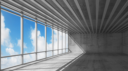 open windows: Abstract architecture, empty open space interior with bright windows and gray concrete walls, 3d illustration with blue sky background