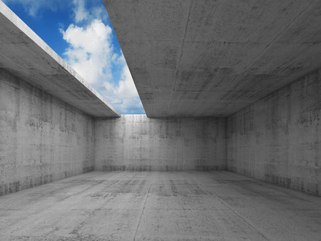 Abstract architecture, empty concrete room interior with asymmetric opening in ceiling, 3d illustration, blue sky background