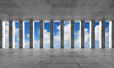 Abstracte architectuur, lege interieur met betonnen kolommen, 3d illustratie met blauwe hemel achtergrond
