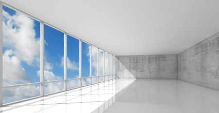 open windows: Abstract modern architecture, empty white open space interior with windows and gray concrete walls, 3d illustration with blue sky background