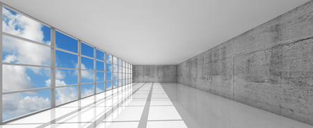 open space: Abstract modern architecture background, empty white open space interior with windows and gray concrete walls, 3d illustration with blue sky background