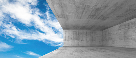 Abstract architecture, empty concrete interior with window opening, 3d illustration with blue sky background