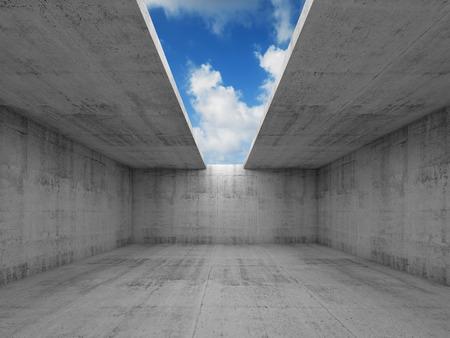 추상 아키텍처, 천장에 구멍 빈 콘크리트 방 인테리어, 3D 그림, 푸른 하늘 배경