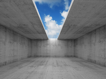 concrete: Abstract architecture, empty concrete room interior with opening in ceiling, 3d illustration, blue sky background Stock Photo