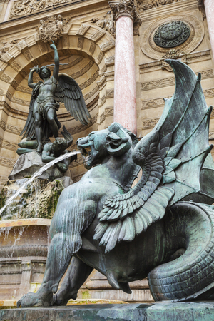 fontaine: Winged lion, Fontaine Saint-Michel, Paris, France. Popular architectural historical landmark