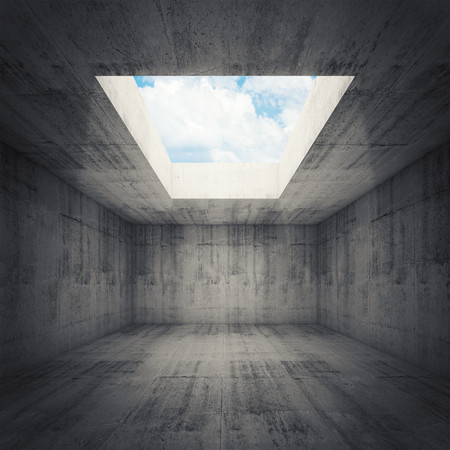 skylight: Abstract architecture, empty dark concrete room interior with opening in ceiling, 3d illustration, blue sky background Stock Photo