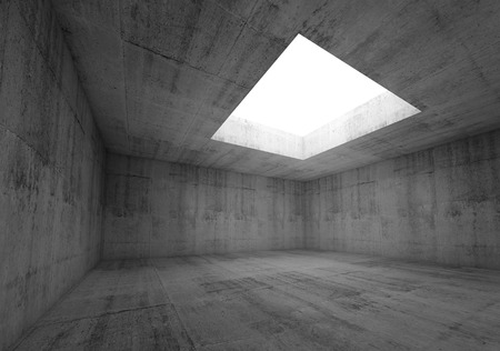 skylight: Abstract architecture background, empty dark concrete room interior with white opening in ceiling, 3d illustration