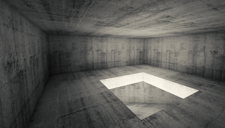 hole: Abstract architecture background, empty dark concrete room interior with square hole in the floor, 3d illustration