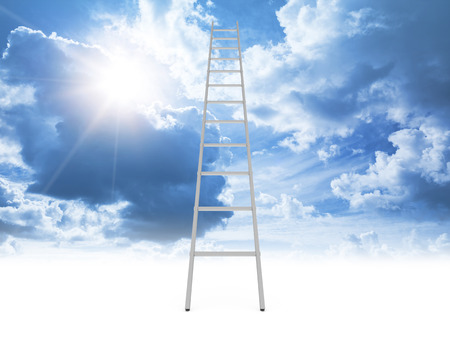 stairway: Metal ladder goes to the cloudy sky with shining sun from clear white background, 3d illustration