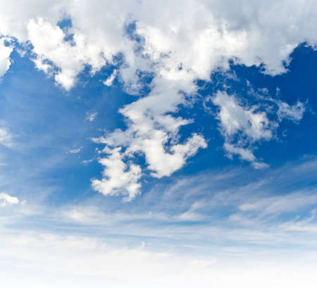 blue cloudy sky: Bright blue cloudy sky background photo texture