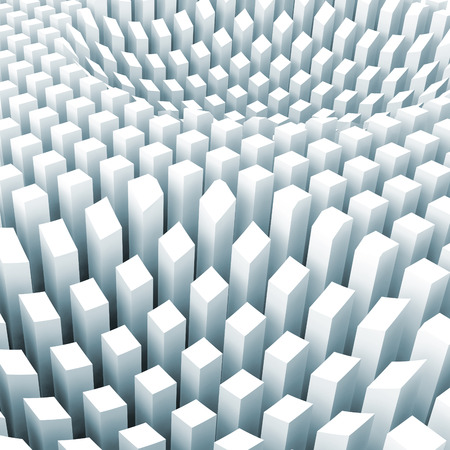 array: Abstract digital background with curved surface formed by top sides of light blue columns area array, 3d illustration Stock Photo