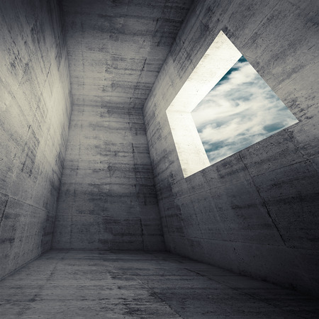 skylight: Abstract architecture background, dark concrete room interior with empty window. 3d illustration with cloudy sky outside