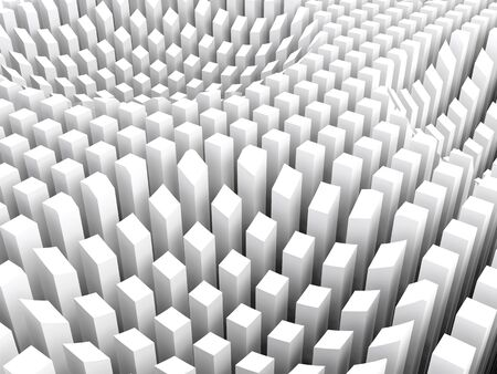 array: Abstract digital background with curved surface formed by top sides of white columns area array, 3d illustration Stock Photo