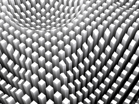 Abstract digital background with curved surface formed by white columns area array, 3d illustration
