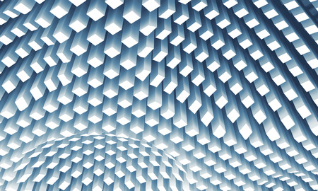 ceiling: Abstract digital background with curved ceiling surface formed by bottom sides of white columns area array, 3d illustration